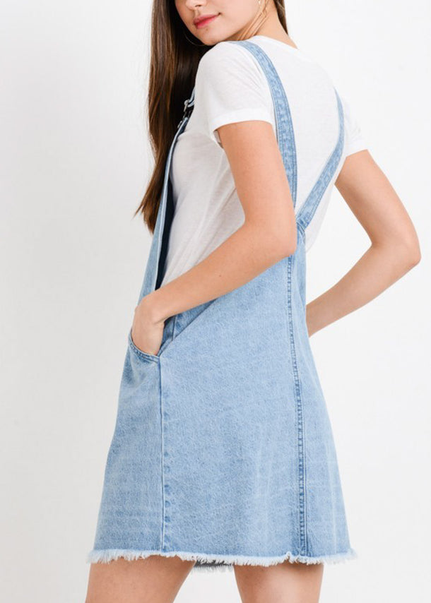 Light Wash Mini Denim Overall Dress