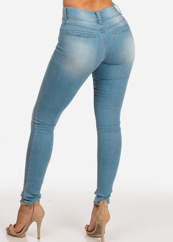 Image of Stylish Light Wash Mid Rise 2 Button Skinny Jeans