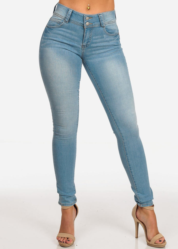 Stylish Light Wash Mid Rise 2 Button Skinny Jeans