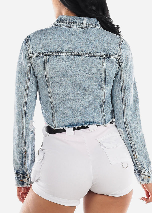 Marble Wash Cropped Denim Jacket