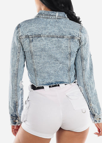 Image of Light Marble Wash Crop Denim Jacket