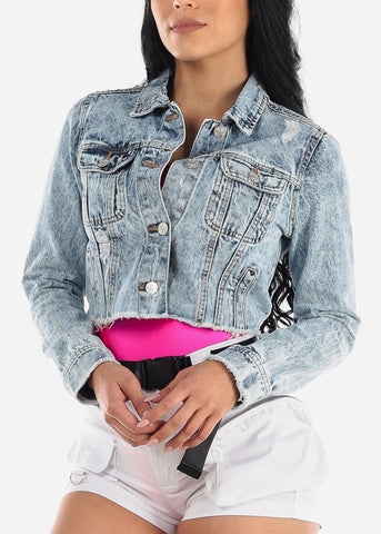 Light Marble Wash Crop Denim Jacket