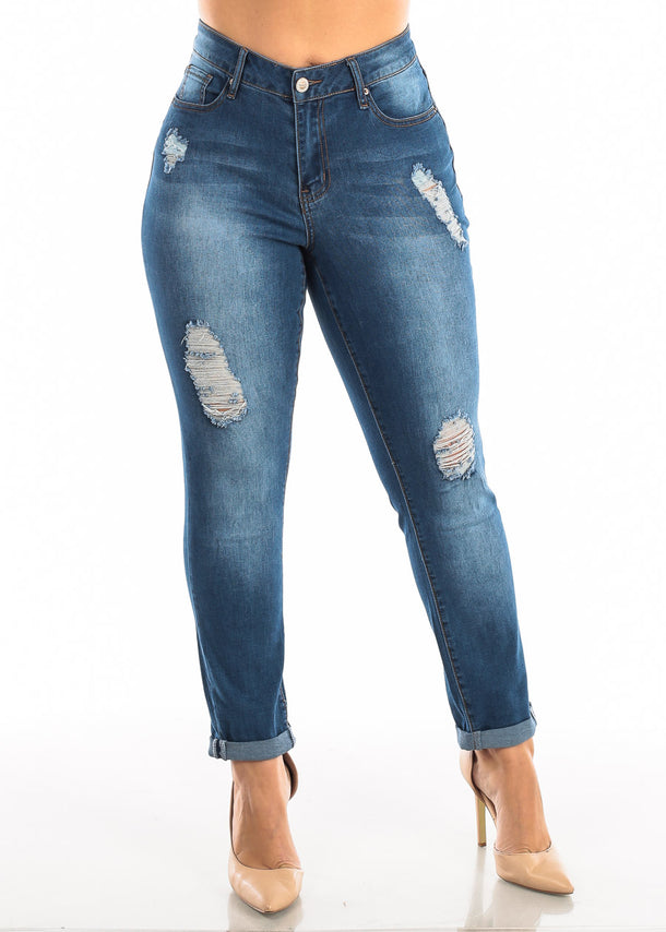 Plus Size Roll Cuff Med Wash Torn Jeans