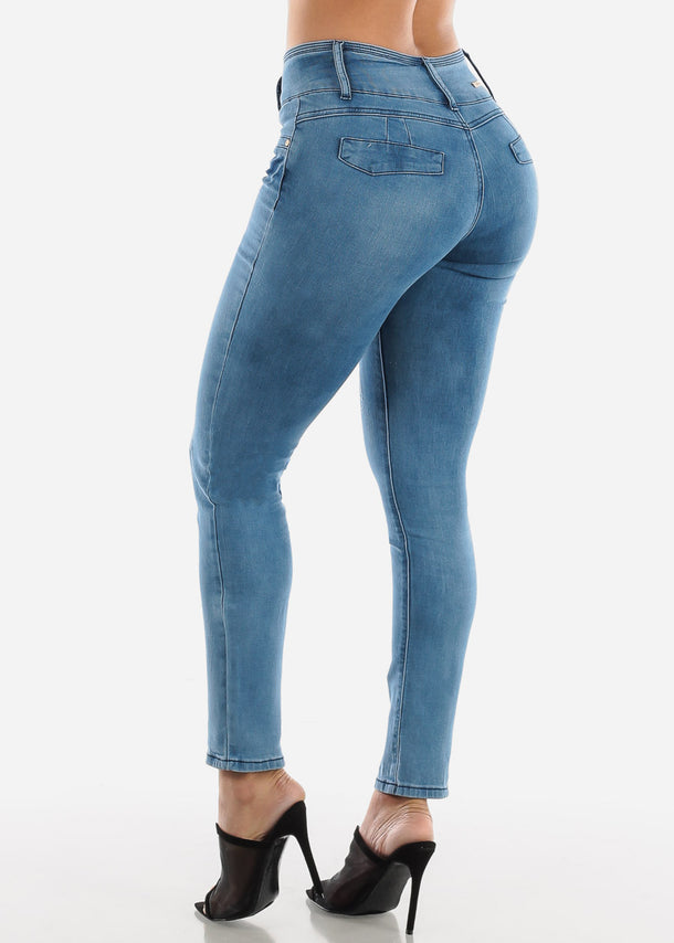 High Rise Push Up Med Blue Wash Skinny Jeans
