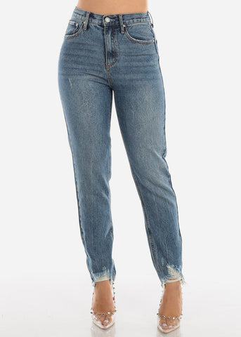 High Rise Distressed Hem Jeans