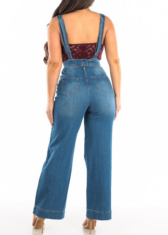 Image of Med Wash Wide Legged Denim Overall