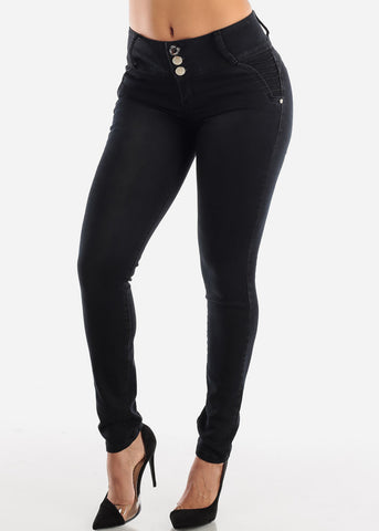 Mid Rise Butt Lifting Black Skinny Jeans