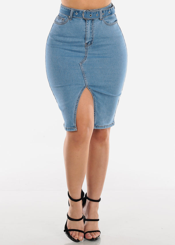 High Waisted Med Wash Jean Denim Skirt With Belt Fashionable Clothes