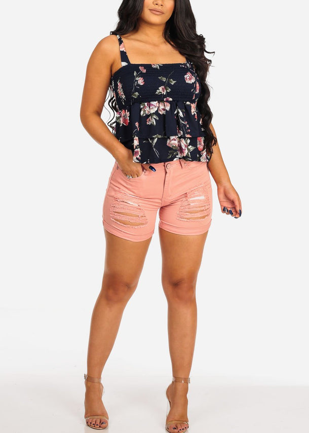 Ripped High Rise Pink Denim Shorts