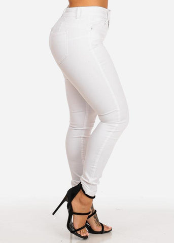 Image of White Butt Lifting High Rise Skinny Jeans