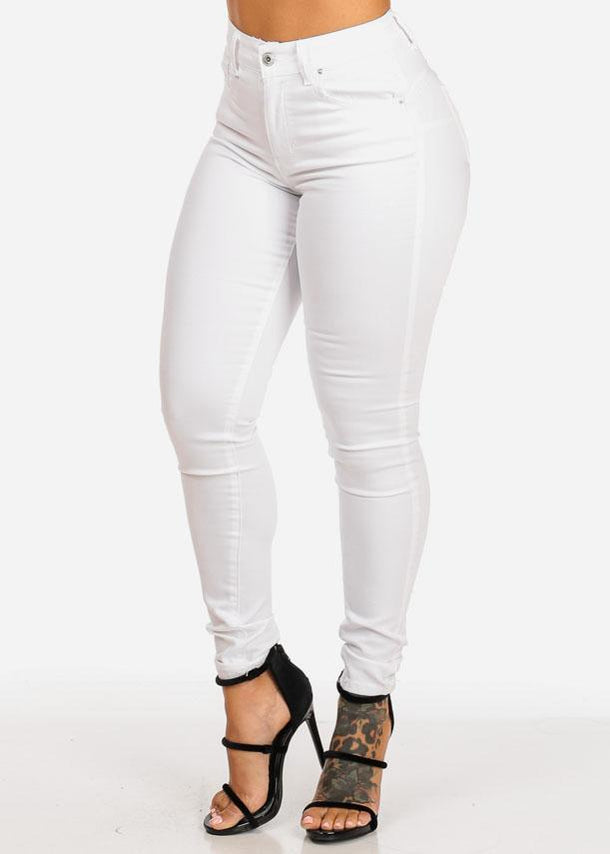 White Butt Lifting High Rise Skinny Jeans