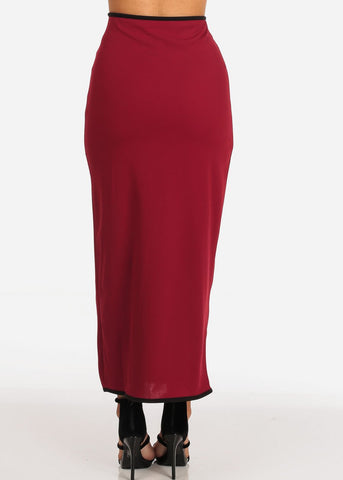 Image of Women's Junior Ladies Stylish Dressy Gold Button Detail Burgundy Maxi Skirt
