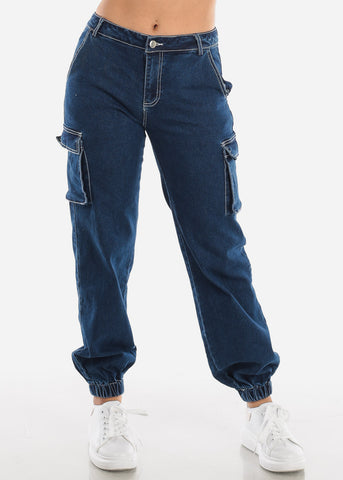 Dark Denim Cargo Jogger Pants