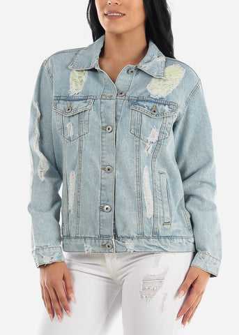 Distressed Light Wash Boyfriend Jean Jacket
