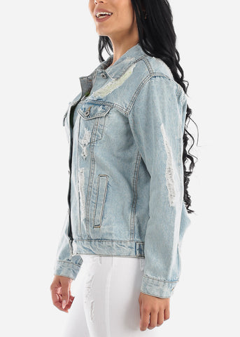 Image of Distressed Light Wash Boyfriend Jean Jacket