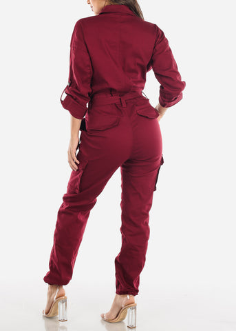 Image of Burgundy Button Up Denim Coveralls