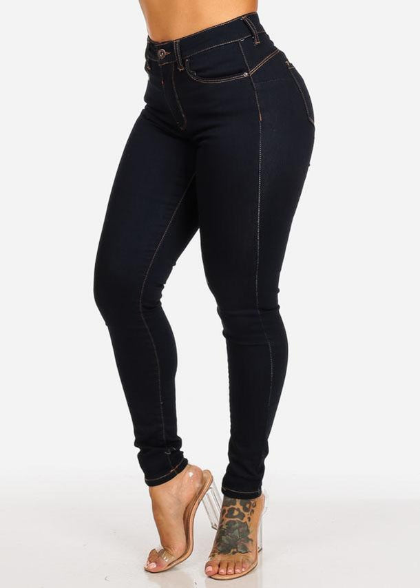 Affordable High Rise Butt Lifting Dark Wash Skinny Jeans