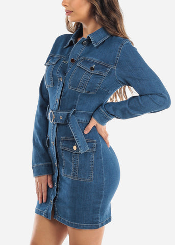 Image of Button Up Med Wash Denim Mini Dress