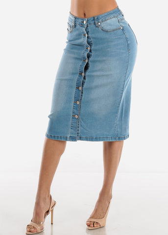 Image of Light Wash Button Down Denim Pencil Skirt