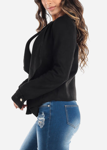 Image of Black Suede Asymmetrical Blazer