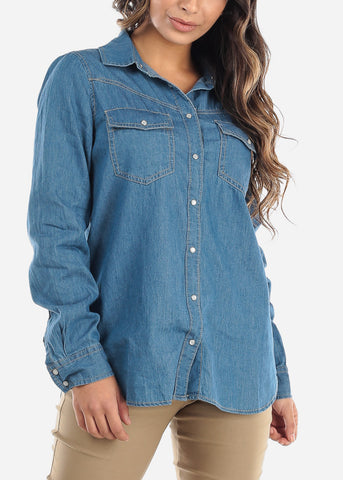 Image of Medium Wash Denim Button Down Shirt