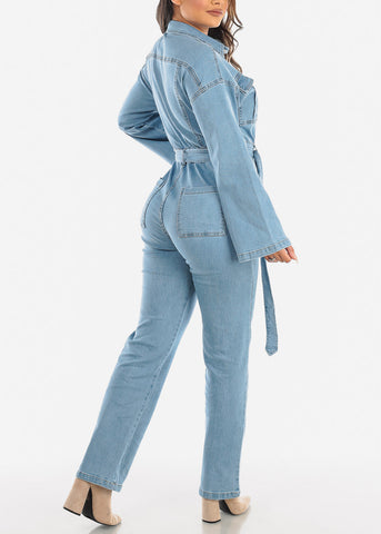 Image of Light Wash Wide Legged Denim Jumpsuit