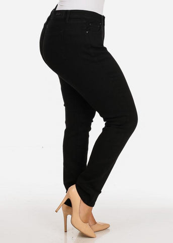 Image of Women's Stylish Curvy Super Stretchy Body Sculpting Plus Size Black Skinny Jeans
