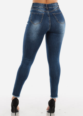 Image of Ultra High Rise Torn Dark Skinny Jeans