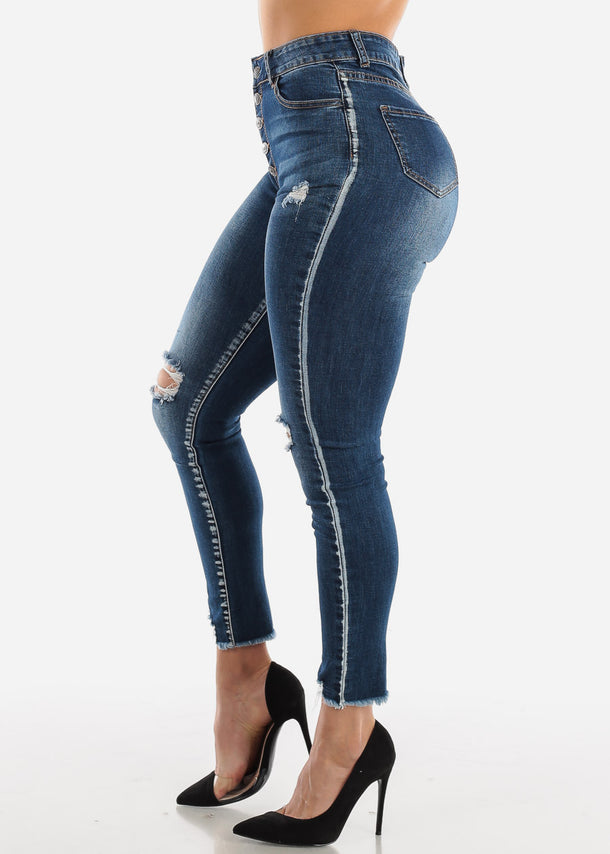 Ultra High Waist Ripped Knee Skinny Jeans