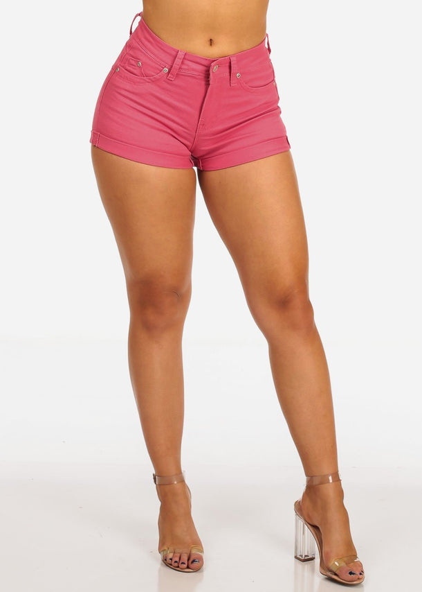Women's Junior Must Have Summer Beach Vacation Booty Butt Lifting Sexy Stylish Pink Shorts