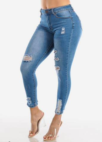 Classic One Button Torn Skinny Jeans