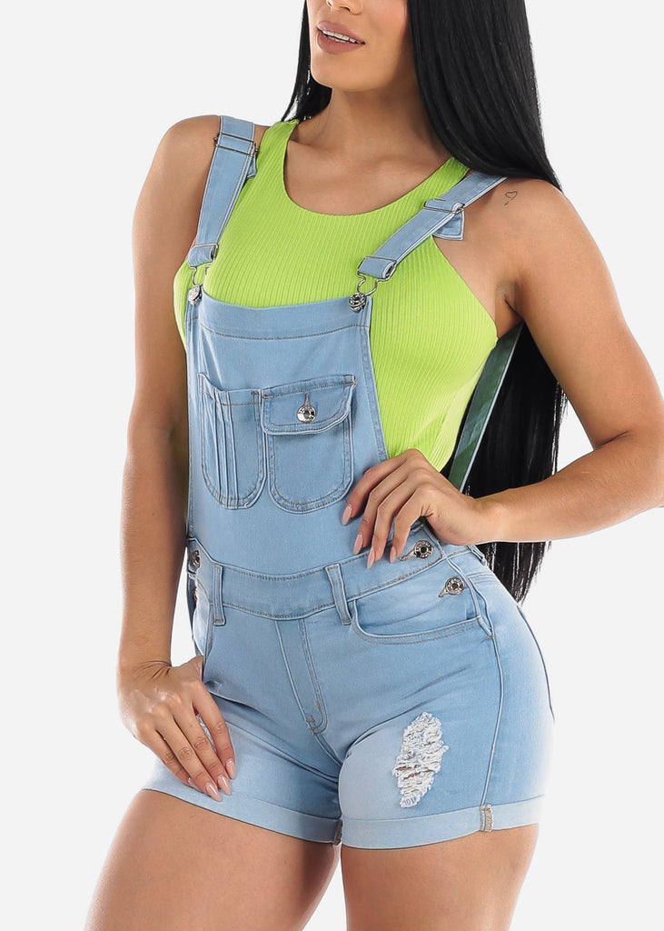 Light Wash Torn Denim Short Overall