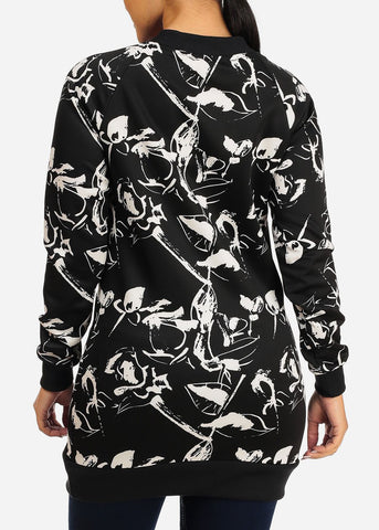 Image of Stylish Long Sleeve V Neckline Black And White  Print Tunic Top