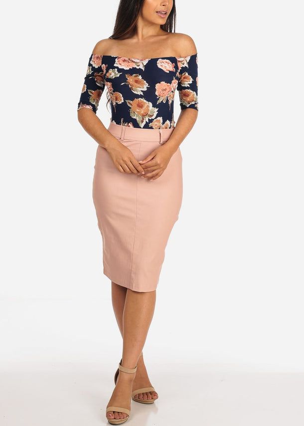Peach Pencil Skirt