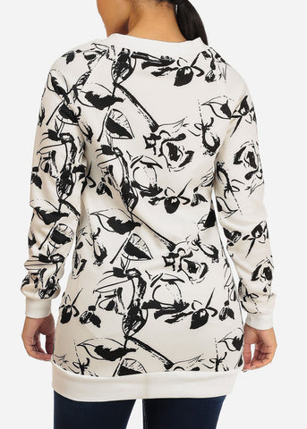 Image of Stylish Long Sleeve V Neckline White And Black Print Tunic Top
