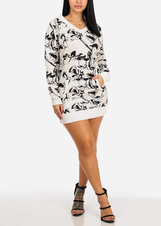 White And Black Print Tunic Sweater