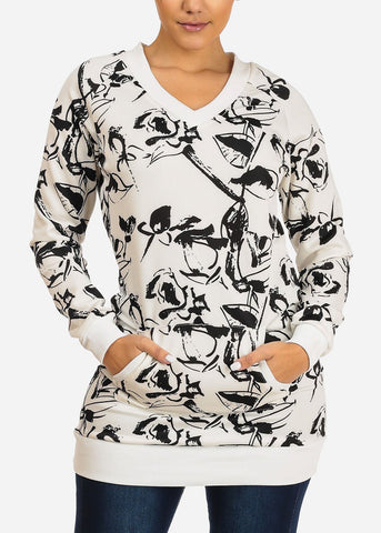 Stylish Long Sleeve V Neckline White And Black Print Tunic Top