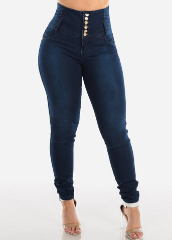 Ultra High Waisted Butt Lifting Levanta Cola Colombian Design Dark Wash Skinny Jeans