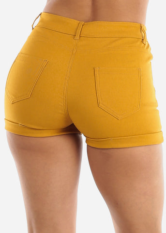 Image of High Waisted Mustard Shorts