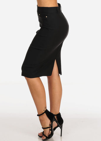 Image of Women's Junior Ladies Stretchy Office Business Professional Career Wear Black Pencil Skirt