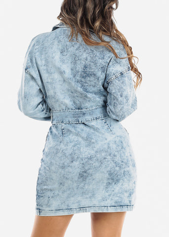 Image of Acid Wash Button Up Denim Mini Dress