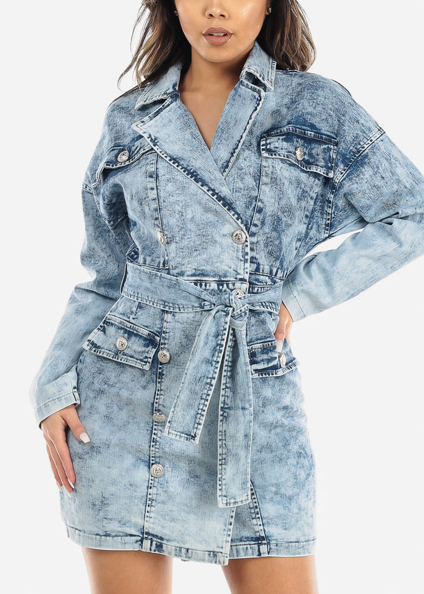 Acid Wash Button Up Denim Mini Dress