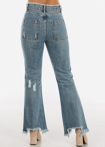 High Rise Distressed Flare Jeans