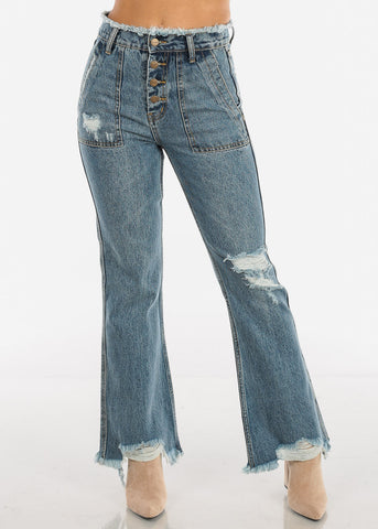 Image of High Rise Distressed Flare Jeans