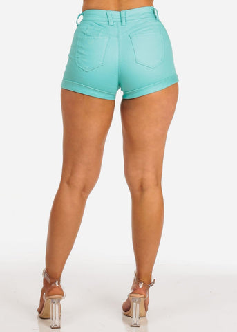 Image of Butt Lifting Mid Rise Mint Denim Shorts