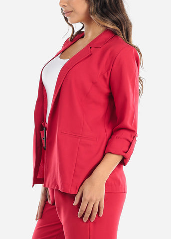 Classic Open Front Red Blazer