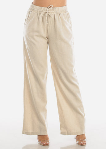 Image of Ivory Drawstring Linen Pants