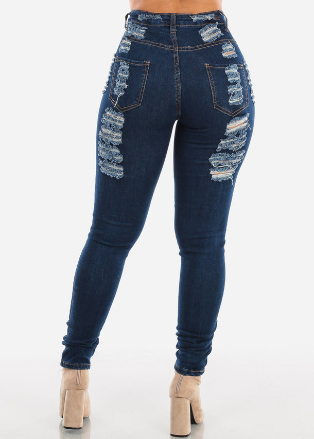 Dark Blue Distressed Dark Skinny Jeans