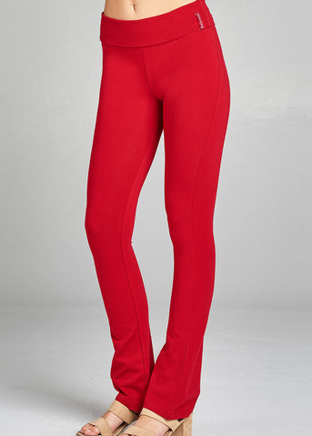 Image of Red Fold Over Yoga Pants