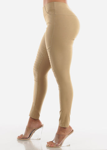 High Waisted Khaki Moto Skinny Pants